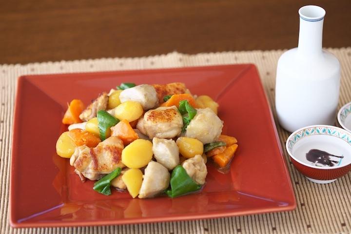 鶏と秋の味覚のエスニック煮