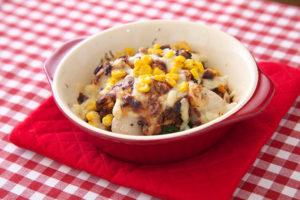 ホクホク里芋とブロッコリーのコーン味噌焼き